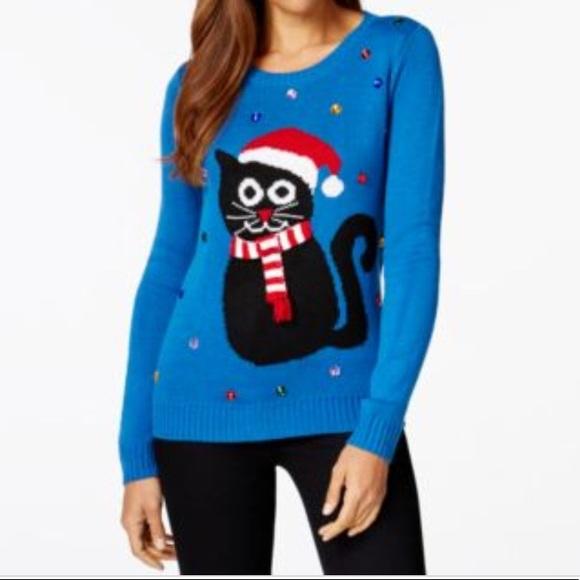 Christmas Cat Sweater.Karen Scott Embellished Christmas Cat Sweater